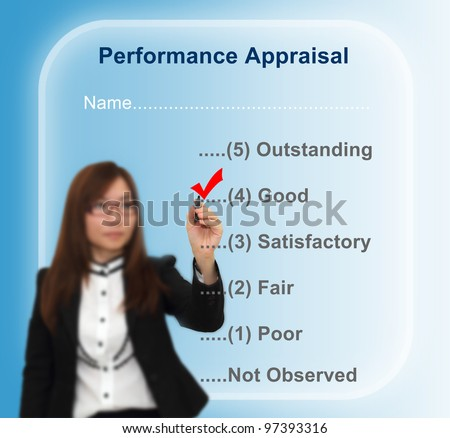 Businesswoman writing performance appraisal concept