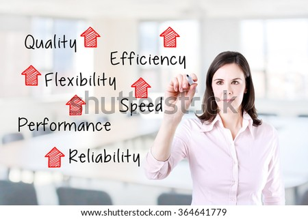 Businesswoman writing rising reliability, quality, efficiency, flexibility, performance and speed. Office background.  - stock photo