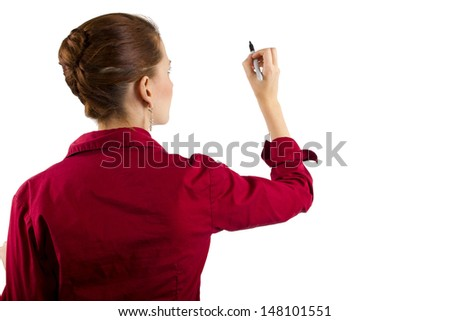 Businesswoman writing with copyspace - stock photo