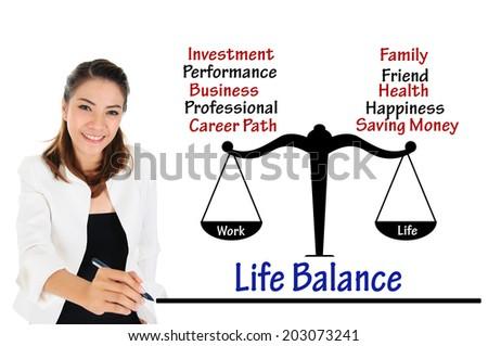 Businesswoman writing work life balance of business concept - stock photo