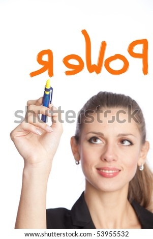 businesswoman wrote red letters on a white background - stock photo