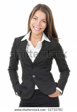 Businesswoman. Young Business woman isolated on white background. Portrait of beautiful multiracial Chinese Asian / Caucasian model. - stock photo
