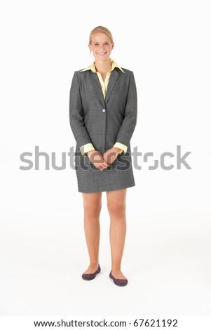 Businesswomanl in studio - stock photo