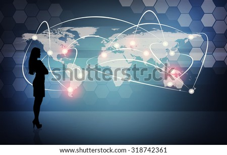 Businesswomans silhouette on abstract blue background with world map