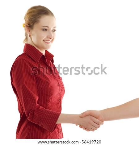 businesswomen handshake isolated on white background - stock photo