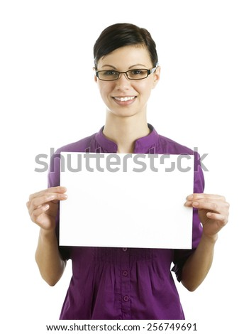 Businesswomen holding blank page