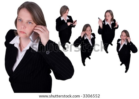 Businesswomen making cell phone calls isolated over white - stock photo