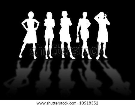 Businesswomen silhouettes in different poses and attitudes