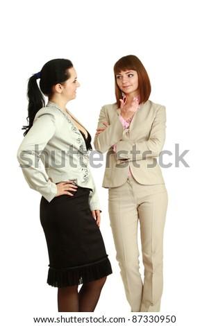 Businesswomen talking, isolated on white - stock photo