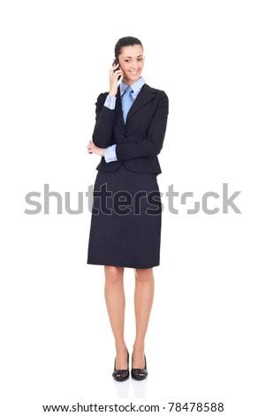 businesswomen talking on phone, full length, isolated on white background - stock photo