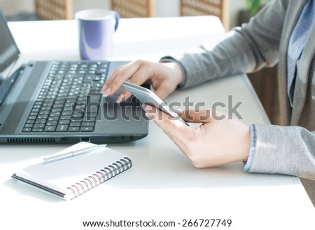Businesswomen Texting - stock photo