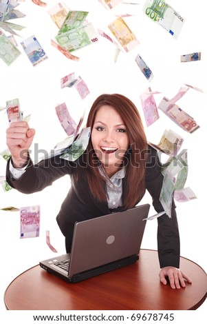 Businesswomen with group of money and laptop. Isolated. - stock photo