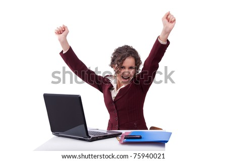Busineswomen enjoys success - stock photo
