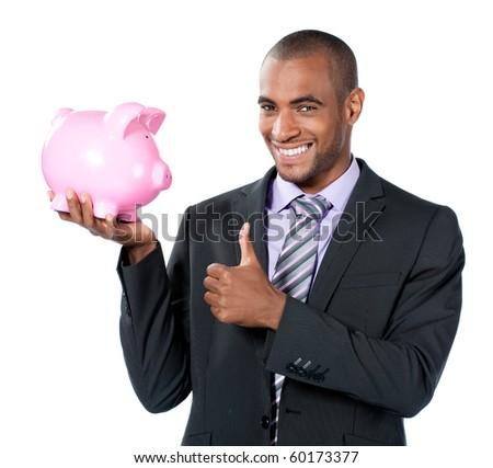 businness black man with piggy bank - stock photo