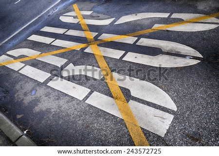 Buslane, road markin - stock photo