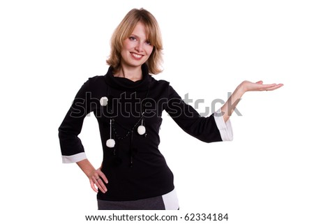 Busnesswoman presenting something - stock photo