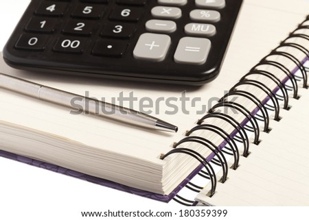 Bussines concept, notebook, pen and calculator - stock photo