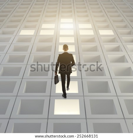 Bussines man pathway arrow concept - stock photo