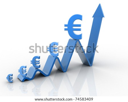 bussiness concept euro's value increase - stock photo