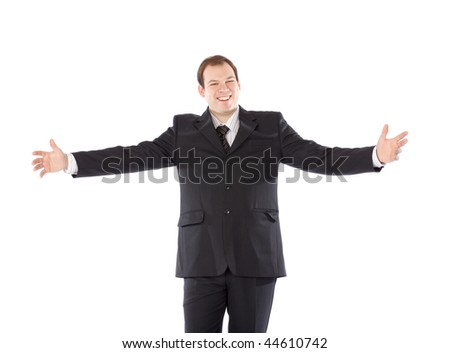 Bussiness man arms outstretched White Background