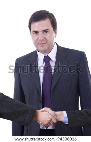 Bussiness man shaking hands on white background - stock photo