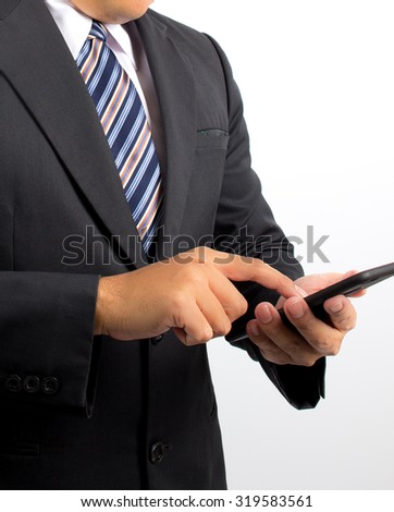 bussiness man using mobile phone - stock photo