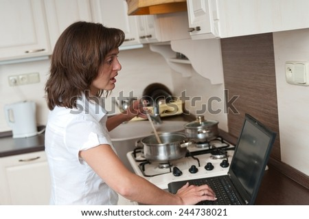 Bussy woman - work at home - stock photo