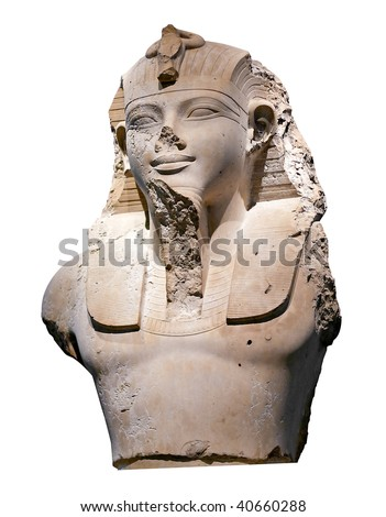 Bust of an egyptian pharaoh isolated on white - stock photo
