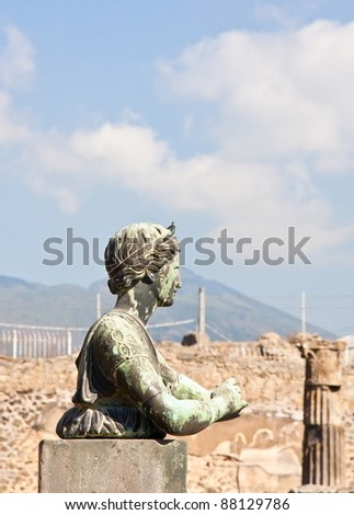 Bust of Diana in focus and background out of focus in Pompeii - stock photo