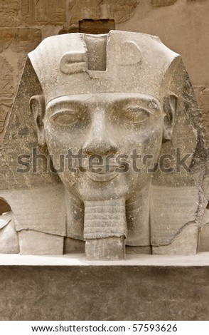 Bust of King Ramses II in Luxor temple, Egypt - stock photo