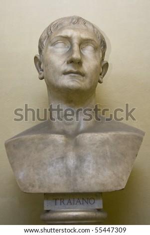 Bust of Roman Emperor Trajan - stock photo