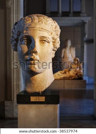 Bust of Roman poetess Sappho - stock photo