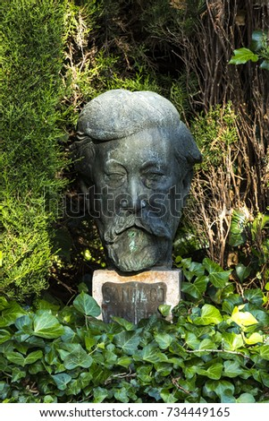 Bust of Santiago Rusiñol in the Gardens of the Cartuja. Valldemossa, Palma de Mallorca / Spain. August 8, 2017.