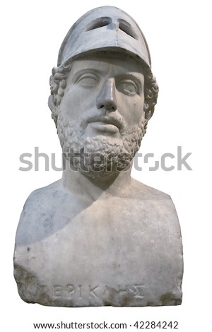 Bust of the greek statesman Pericles isolated on white with clipping path - stock photo