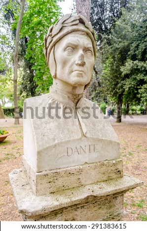 Bust statue of Dante Alighieri, major Italian poet of the late Middle Ages, author of the Divine Comedy, a masterpiece of world literature. Sculpture in Villa Borghese park, Rome - stock photo