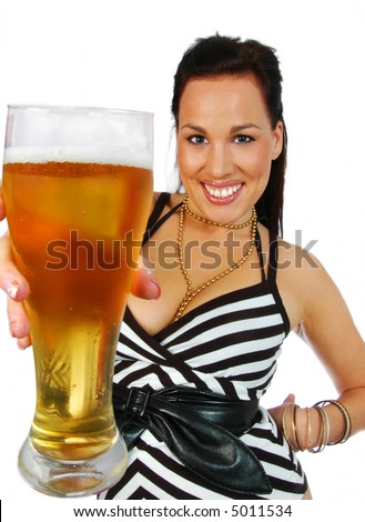 busty brunette with pint of beer