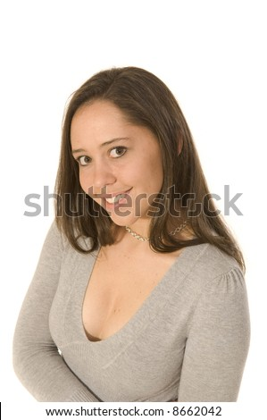 Busty young woman in low-cut sweater