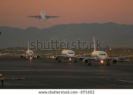 Busy Airport - stock photo