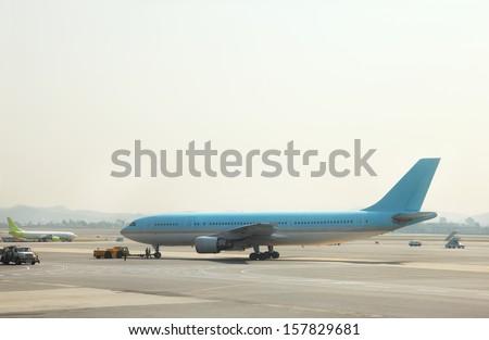 Busy Airport Tarmac - stock photo