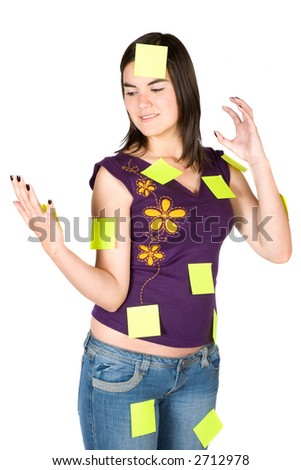 busy and stressed woman with lots of things to do - post its over a white background - stock photo
