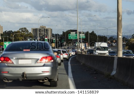 Busy australian highway at peak hour
