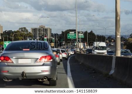 Busy australian highway at peak hour - stock photo