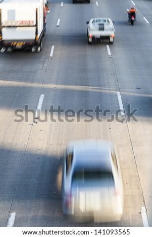 Busy Australian M1 highway at peak hour - stock photo