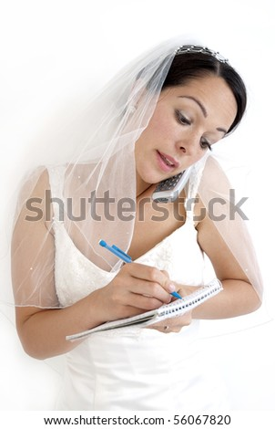 Busy bride - stock photo