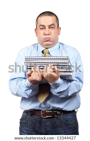 Busy business man carrying stacked files over a white background