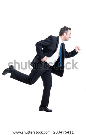 Busy business man running isolated on white background