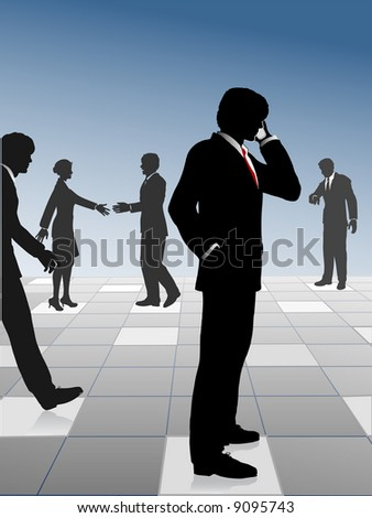 Busy business people network and connect on a reflection grid: call; meet; walk; make appointments; hurry to meetings. Get busy people! - stock photo