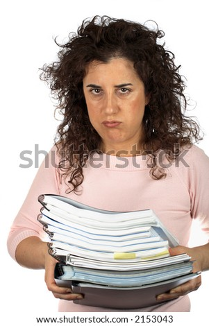 Busy business woman carrying stacked files over a white background