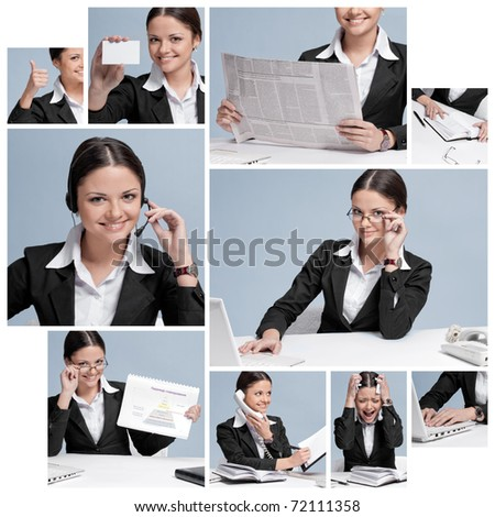 Busy business woman in office place talking by wireless headset over white table, laptop and diary. collage