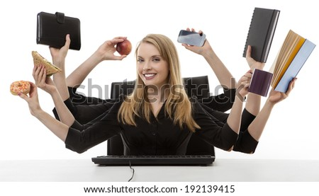 busy business woman multitasking in the office with eight arms  - stock photo
